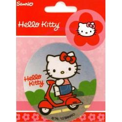 Hello Kitty på scooter PRINTET strygemærke Ø 7,5cm