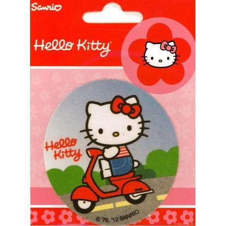 Hallo Kitty på scooter PRINTET strygemærke Ø 7,5cm