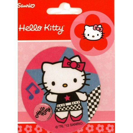 Hello Kitty med node PRINTET strygelap Ø 7,5cm