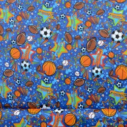 Flonnel Mørkeblå med bolde og stjerner