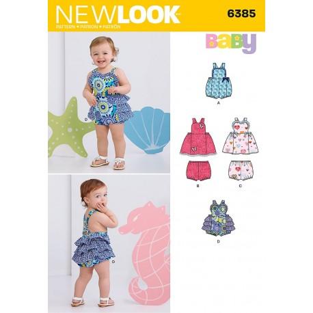 Ballonbukser og kjole Babytøj new look snitmønster 6385