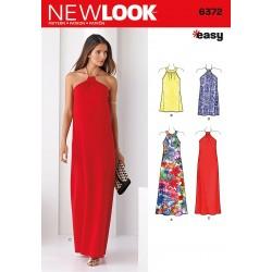 Kjole m/halterneck stof eller kæde new look snitmønster easy