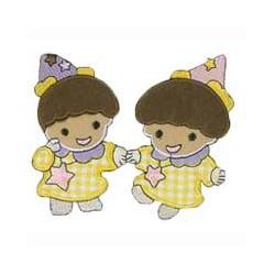 Tvillinger Lyserød/Lilla strygemærke