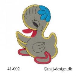 Ælling m/turkis Blomst strygemærke 13,5x8 cm