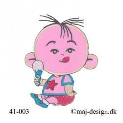 Lyserød Baby m/is strygemærke