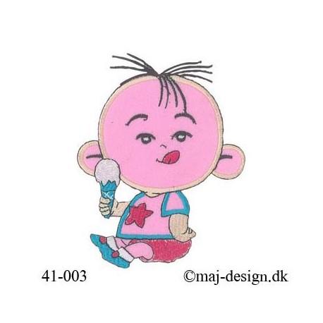 Lyserød Baby med is strygemærke