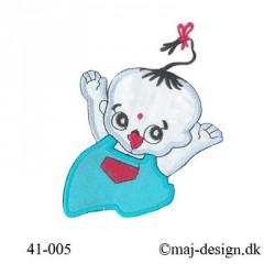 Lysblå/turkis Baby m/sløjfe strygemærke
