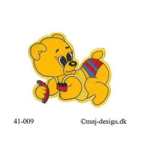 Gul Bjørn strygemærke 10x11,5 cm