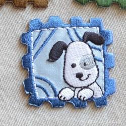 Frimærke m/hund strygemærke 4,5x4,5 cm