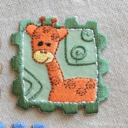 Frimærke m/Giraf strygemærke 4,5x4,5 cm