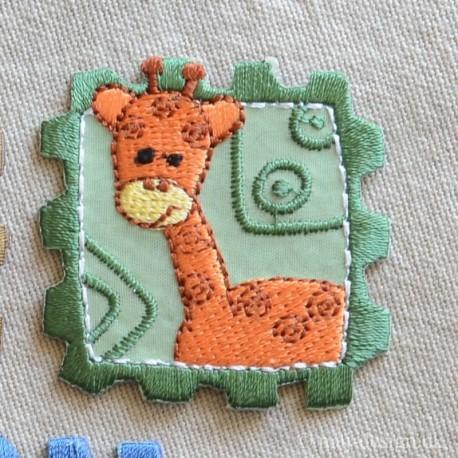 Frimærke med Giraf strygemærke 4,5x4,5 cm
