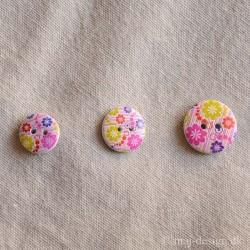 Træ Knap 2-hul Pink/Lilla