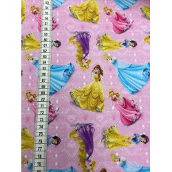 Disney Prinsesser Lyserød bund Digetal Print 140 cm bred