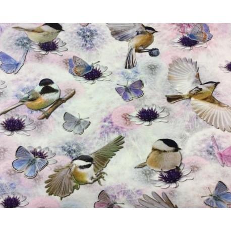 Fugle/Sommerfugle Digetal Print 140 cm bred