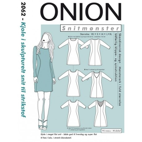 Kjole i Skrukturelt snit til strikstof Onion snitmønster 2062