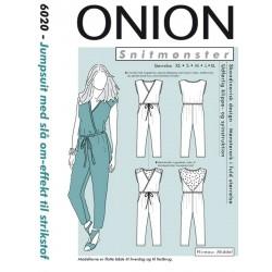 Jumpsuit med slå-om-efekt til strikstof Onion snitmønster 6020