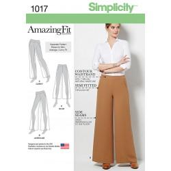 Bukse med brede bukseben AmazingFit snitmønster 1017