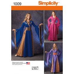 Kostume elegant europæisk jomfru fra middelanderen snitmønster