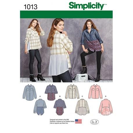 Storskjorte 4 varianter Snitmønster simplicity 1013