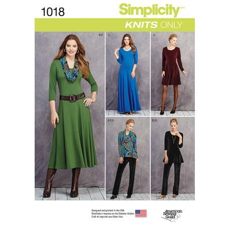 Kjole, Tunika og bukser Simplicity snitmønster 1018