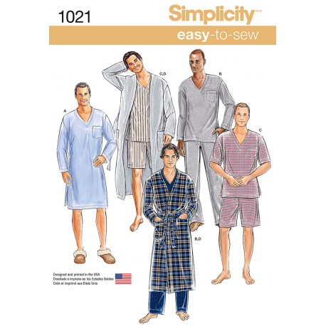 Herre Pyjamas Simplicity snitmønster 1021