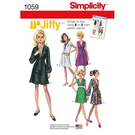 Kjole 5 varianter snitmønster Simplicity 1059