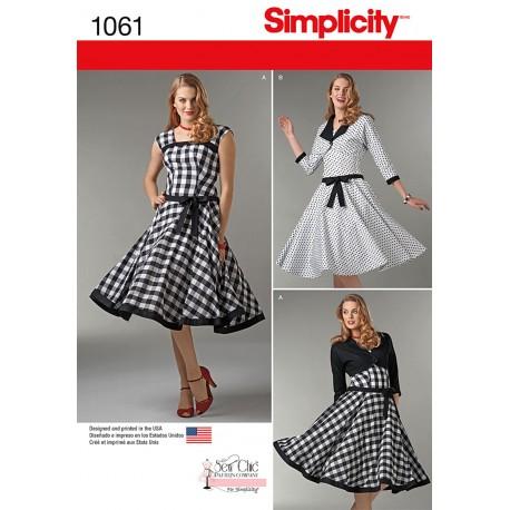 74fb6cd9d4ec Kjole og kort jakke snitmønster Simplicity 1061