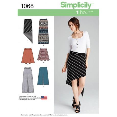 Nederdel og bukser snitmønster Simplicity 1068