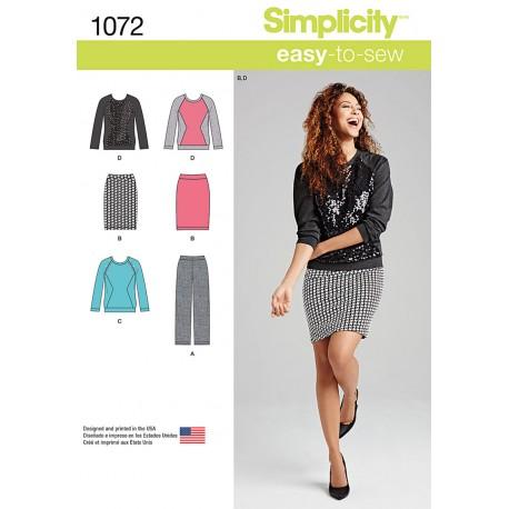 Bluse, bukser og nederdel også plusmode snitmønster Simplicity 1072