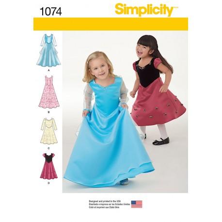 7c396bb0f0ef Pige kjole snitmønster Simplicity 1074 Brudepigekjole