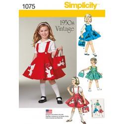 Vintage 1950´ Pigenederdel snitmønster Simplicity 1075