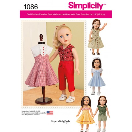 Dukketøj til 45,5 cm dukke snitmønster Simplicity 1086