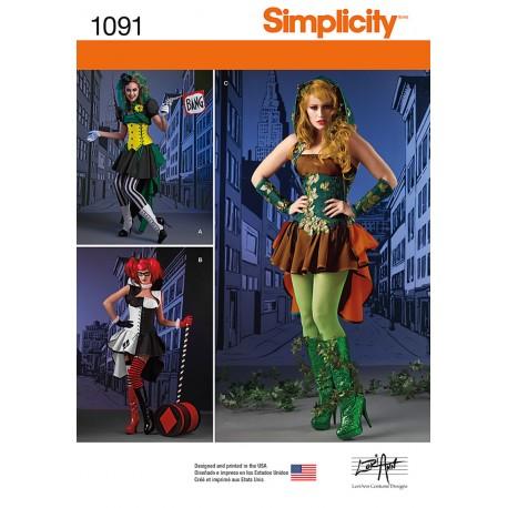 Kostume voksen Rudedame snitmønster Simplicity 1091