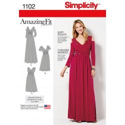 Kjole m/åben skulder snitmønster Simplicity 1102