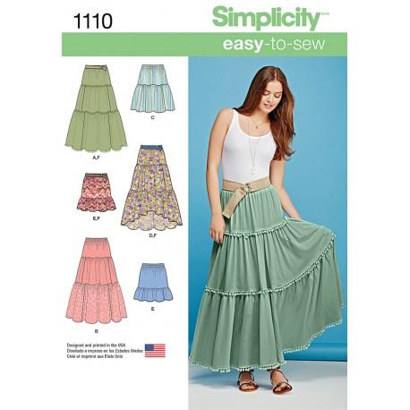 Nederdel og bælte snitmønster Simplicity 1110