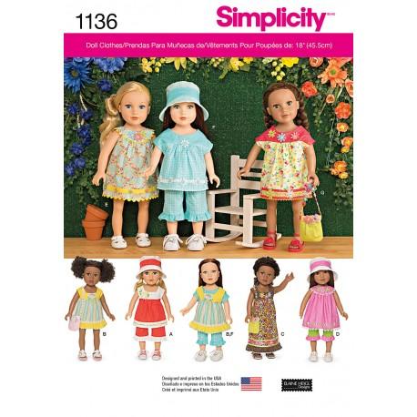Dukketøj til 45,5 cm dukke snitmønster Simplicity 1136
