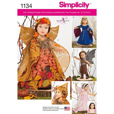 Kostume til 45,5 cm dukke snitmønster Simplicity 1134