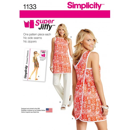Tunika og bukser snitmønster Simplicity 1133