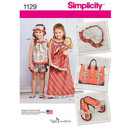 Top, shorts og slippers pigetøj snitmønster Simplicit 1129