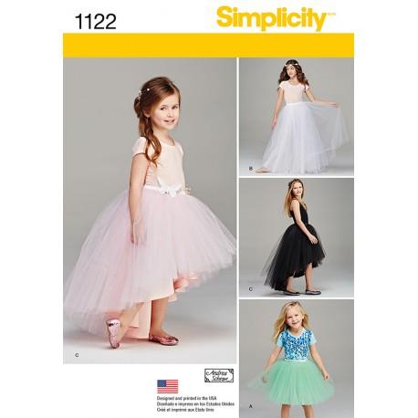 Tylskørt til piger snitmønster Simplicity 1122