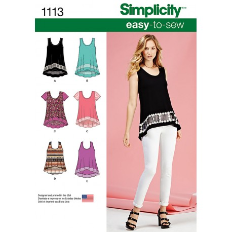 Tunika snitmønster Simplicity 1113