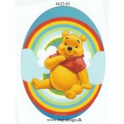 Peter Plys med regnbue Printet Strygemærke lap 11x8 cm