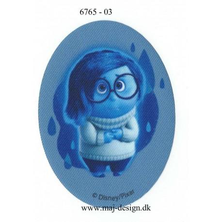 Inside Out sorg Blå ovalt Printet Strygelap strygemærker 11x8 cm