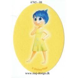 Inside Out glæde ovalt Gul Printet Strygelap strygemærke 11x8 cm