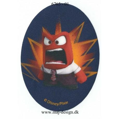 Indside Out vrede ovalt Rød blå Printet Strygelap strygemærke 11x8 cm