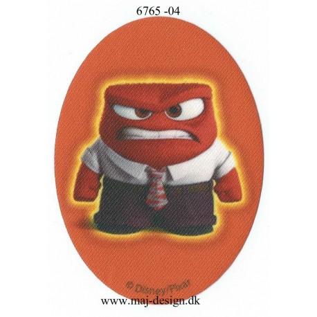 Inside Out vrede Rød Printet Strygelap strygemærke 11x8 cm