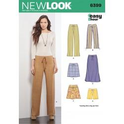 Løse bukser og nederdel Snitmønster New look easy 6399