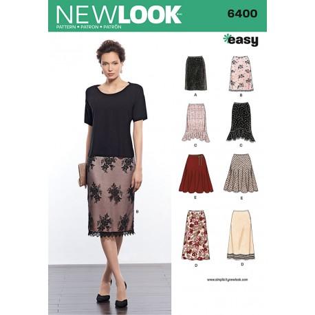 Nederdel 8 varianter Snitmønster New Look easy 6400