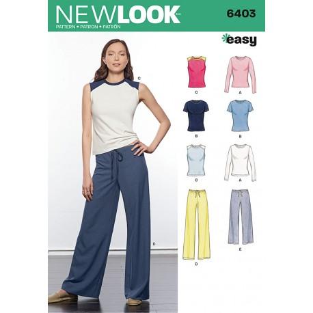 Løse bukser og bluser Snitmønster New look easy 6403