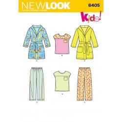 Pyjamas og badekåbe børn snitmønster new look 6405